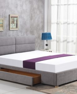 Pat tapitat cu stofa Merida Light Grey - 160x200